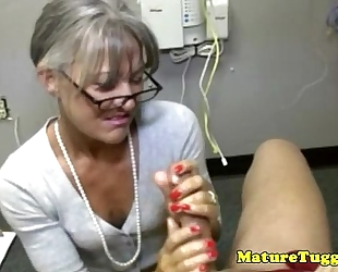 Granny mature toying with knob