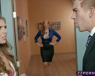 Office boss bonks his secretary and a breasty milf assistant