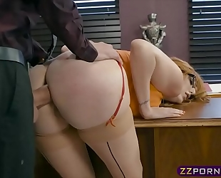 Busty office hottie working on her promotion by offering anal
