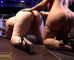 Blonde bigtits and fatty dark brown lesbo fuck