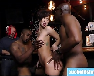 Busty white white wife violated by two massive dark dicks