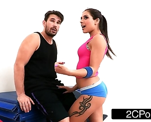 Tiny latin babe bombshell jynx maze drilled up her 1st class yoga butt
