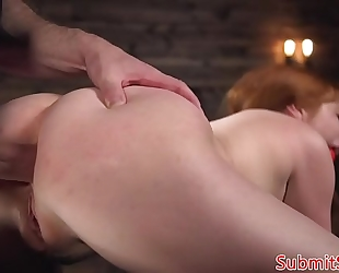 Ginger sub whore fucked right into an asshole and pussytoyed