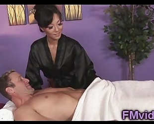 Asian chick asa akira engulfing dong after massage