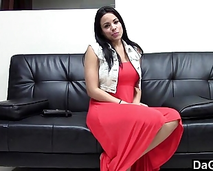 Awesome breasty latin babe engulf and fuck during an auditon