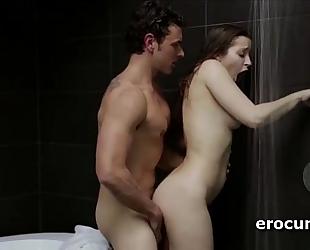 Splendid lascivious pair having ardent sex below the shower