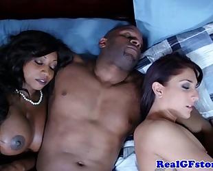 Interracial milfs share mouthful of cum