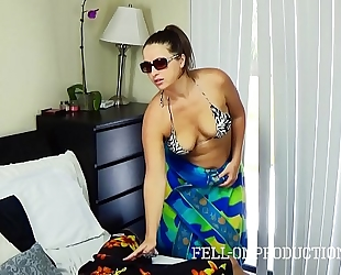 Hot milf with large wazoo copulates in belt bikini