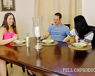 Milf mama plays with twat during the time that watching daughter and brother fuck