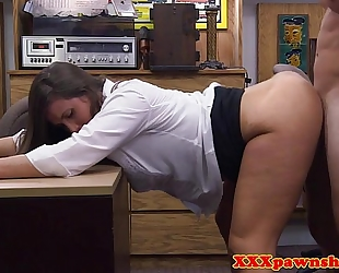 Broke chic older pounded in office