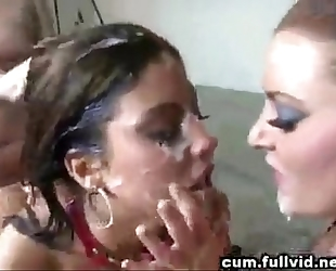 Brunette with constricted little body overspread in multiple cumshots by multiple men