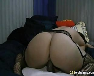 Chubby dirty slut wife masturbates with sex toy on web camera
