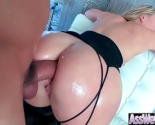 Anal sex scene with sexy large ass oiled white wife (aj applegate) video-03