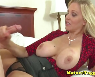 Classy cook jerking milf acquires jizz flow on her melons