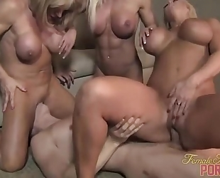 Three muscle chicks fuck some wimp