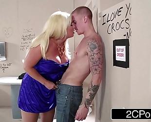 Sneaky italian blond bimbo milf alura jenson sucks pecker in the theater