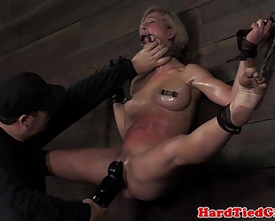 Blonde nipp clamped sadomasochism sub punished