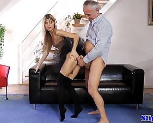 Petite euro cocksucking in english threeway