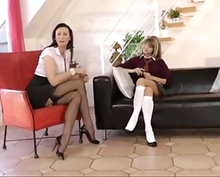 Schoolgirl seduces milf step mommy for lesbo act www.katherinecams.com