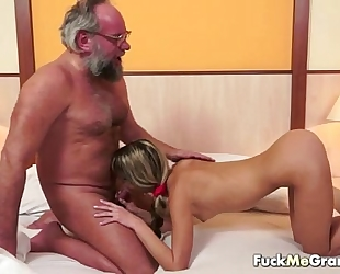 Lucky old bastard bangs enchanting white bitch