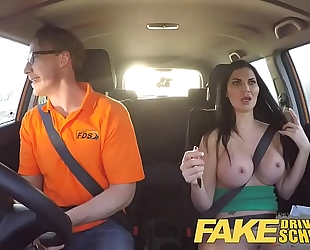 Fake driving school breasty examiner passes excitable youthful fellow on his test