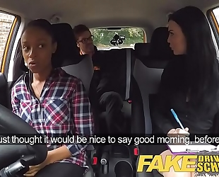 Fake driving school breasty dark slutty wife fails test with lesbo examiner