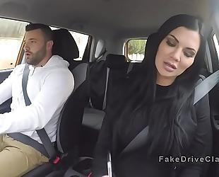 Big man bangs breasty driving examiner