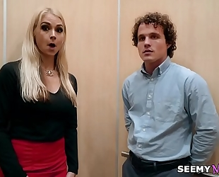 My boss' angry white wife sarah vandella bonks me in the elevator