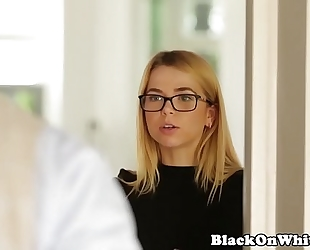 Interracial small student throating bbc