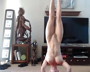 Babysitter yoga session and squirting enjoyment on webcam - dementedcams.com