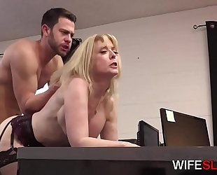 Young office assistant drilled by cheating white bitch nina hartley