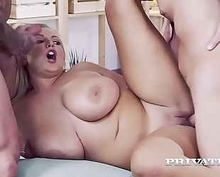 Wild and curvy crystal swift receives two dicks