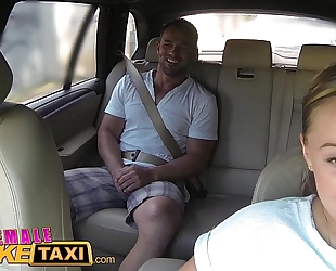 Female fake taxi huge milk cans cabbie desires ramrod on the backseat
