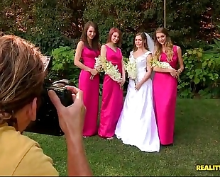 Bride triple teamed by her hot lesbian bridesmaids on her wedding day