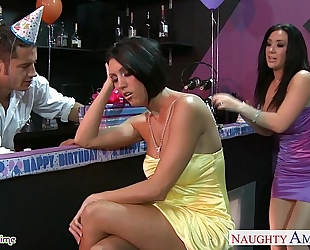Busty women dylan ryder and jayden jaymes sharing a man at party