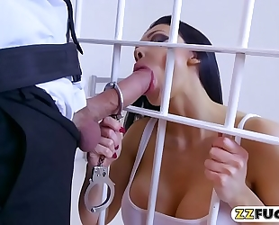 Massive boobies prisoner wazoo ripped by naughty officer