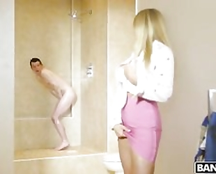 Whorish blonde cougar fucks her stepson in the bathroom