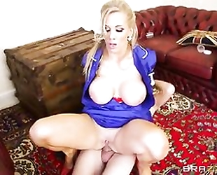 Thick nurse with huge melons enjoys hard anal pounding