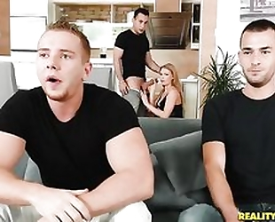 Nymphomaniac Euro slut always wanted to try 3 cocks at the same time