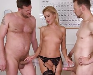 Nice cute office worker plays with her pussy in black stockings and being fucked by 2 studs