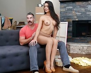 Dazzling latina with big juggs seduces and fucks her neighbor