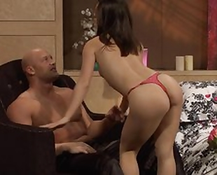 Bald-headed stallion pounds astonishing Asian girl in bed
