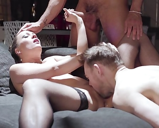 Horny damsel with natural tits shagged by 2 cocks at once