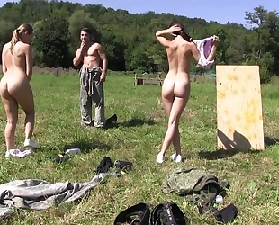 Two beautiful European girls getting fucked outdoors