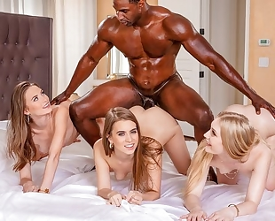 Lucky black dude fucks three beautiful college girls at once
