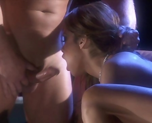 Passionate whore takes one hard dick in her pussy and one in mouth