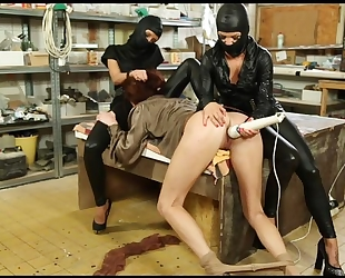 Submissive chick gets her wet pussy massaged with vibrator