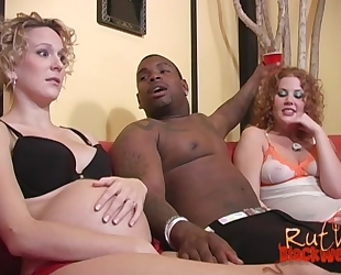 Nasty slut shares massive black cock with her pregnant friend