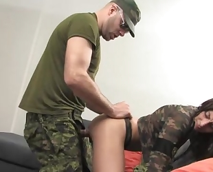 Horny soldier with a hard dick bangs slutty brunette