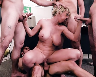 Short-haired teacher gets gangbanged by four horny students